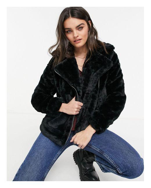 Черная Куртка Авиатор Из Искусственного Меха -черный AX Paris, цвет: Black