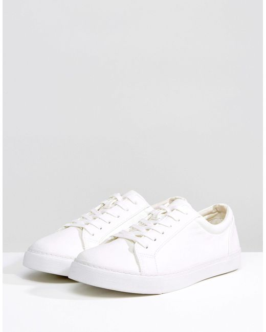 ASOS Wide Fit Lace Up Sneakers In White for men