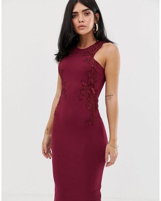 Платье Миди С Кружевом -фиолетовый AX Paris, цвет: Purple