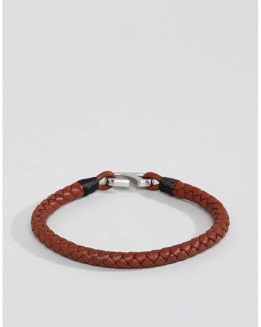 2d6c9ce250e72 Men's Black Braided Leather Hook Bracelet In Brown