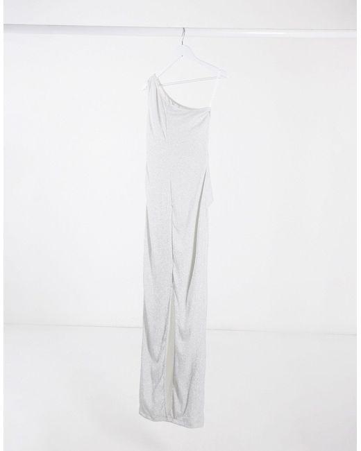 Серебристое Платье Макси На Одно Плечо -серебряный AX Paris, цвет: Metallic