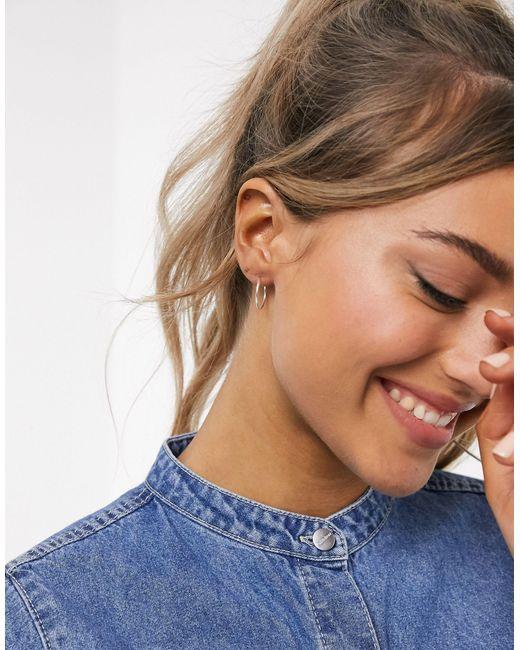 ASOS Metallic Pack Of 3 Sterling Silver Hoop Earrings