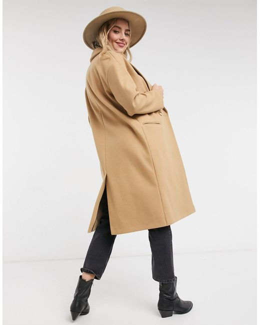 Бежевое Пальто В Строгом Стиле -светло-коричневый TOPSHOP, цвет: Natural