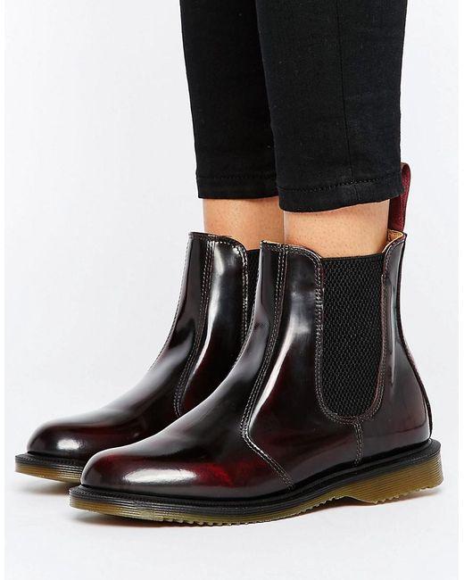 Dr. Martens | Red Kensington Flora Burgundy Chelsea Boots | Lyst