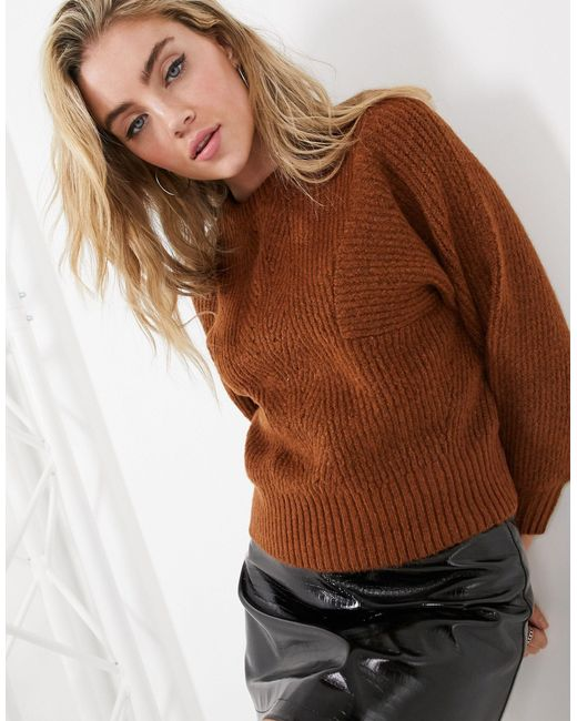 Джемпер В Рубчик -коричневый TOPSHOP, цвет: Brown
