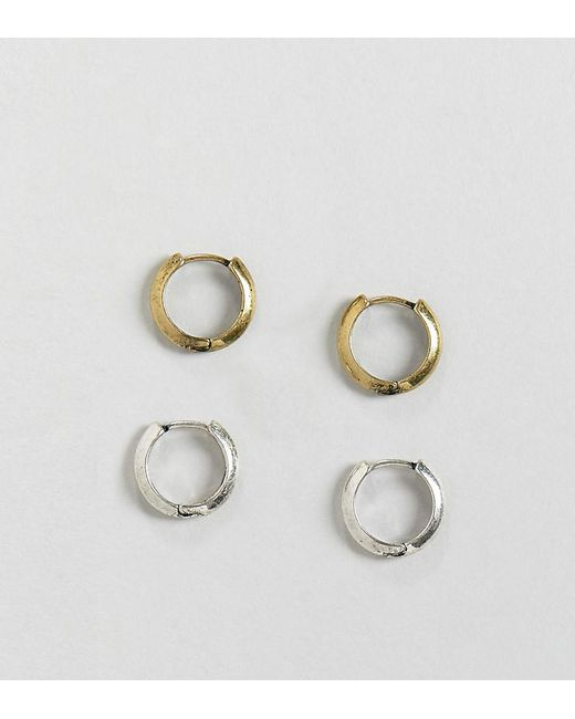 Reclaimed (vintage) - Metallic Inspired Hoops Earrings Pack In Burnished Silver And Gold for Men - Lyst