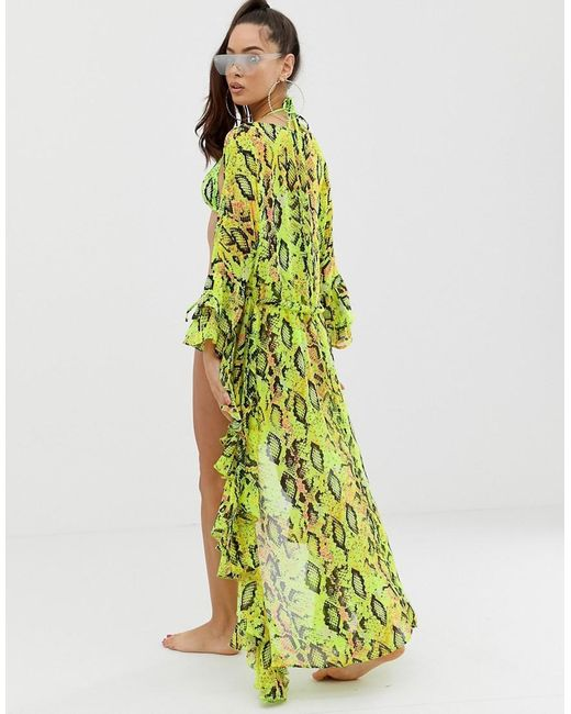 03aaf3e63b ... ASOS - Green Glam Beach Kimono In Neon Snake Print With Ruffle Sleeves  - Lyst