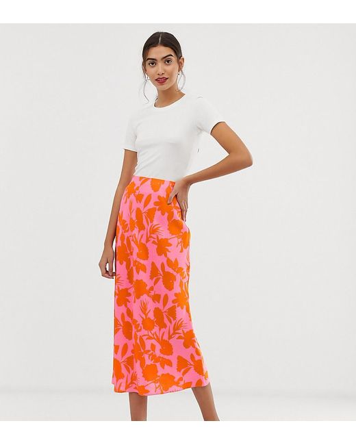 319ab1054f ASOS - Multicolor Asos Design Tall Exclusive Bias Cut Satin Slip Midi Skirt  In Floral Print ...