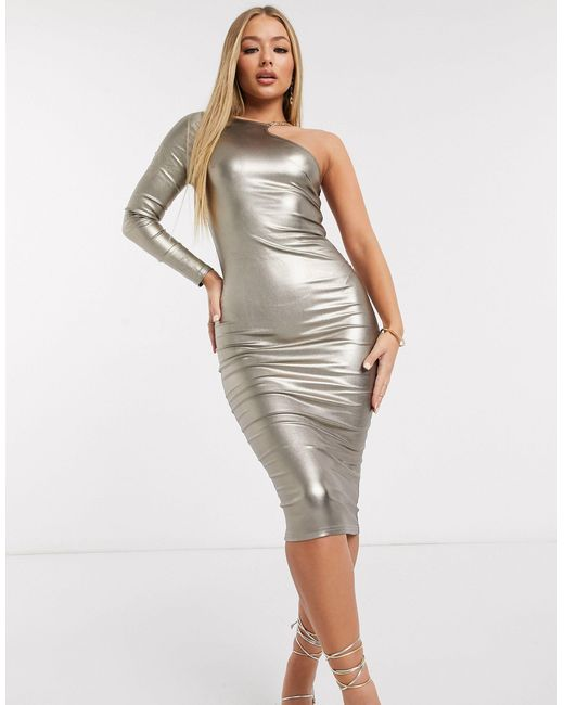 Золотистое Платье Миди На Одно Плечо С Эффектом Металлик -серый AX Paris, цвет: Gray