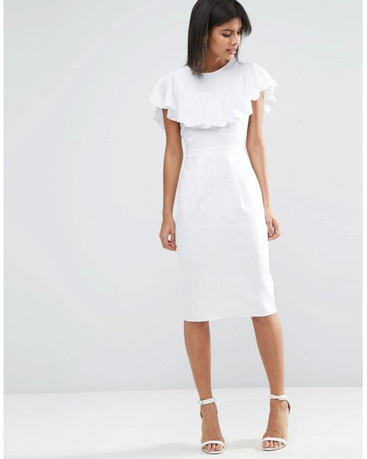 ASOS | White Wiggle Dress In Linen With Frill Detail | Lyst
