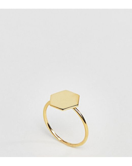 ASOS - Metallic Gold Plated Sterling Silver Brushed Hex Ring - Lyst