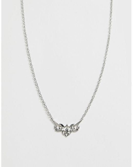 ASOS Metallic Necklace With Tattoo Pendant In Silver Tone