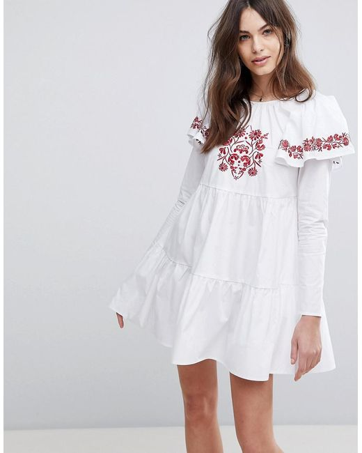Fashion Union - White Embroidered Smock Dress With Exaggerated Sleeves - Lyst