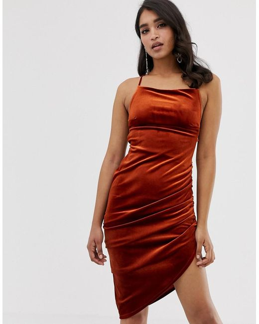 a51d9cfad6 ASOS - Brown Velvet Midi Bodycon Dress With Strappy Back - Lyst ...