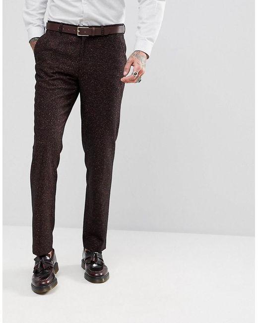 ASOS - Red Skinny Suit Pants In Wine Flecked Wool Blend for Men - Lyst