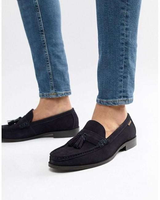Ben Sherman Blue Loafers Tassel Loafers In Navy Suede for men