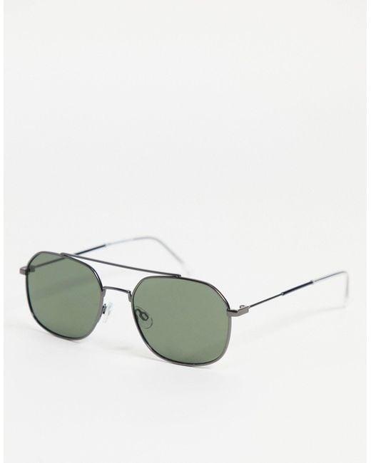 Черные Квадратные Солнцезащитные Очки С Надбровной Планкой -черный Цвет SELECTED для него, цвет: Green