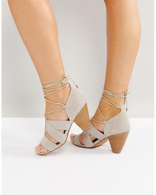 ASOS - Gray Tali Lace Up Heeled Sandals - Lyst