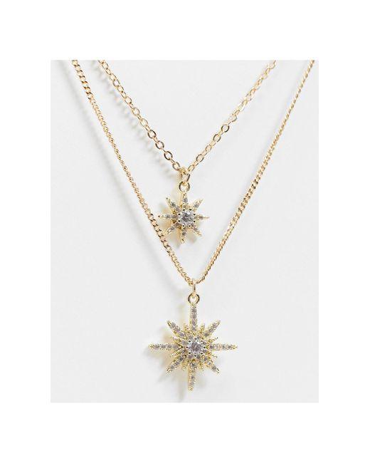 Collier multi-rangs à pendentifs étoiles Pieces en coloris Metallic