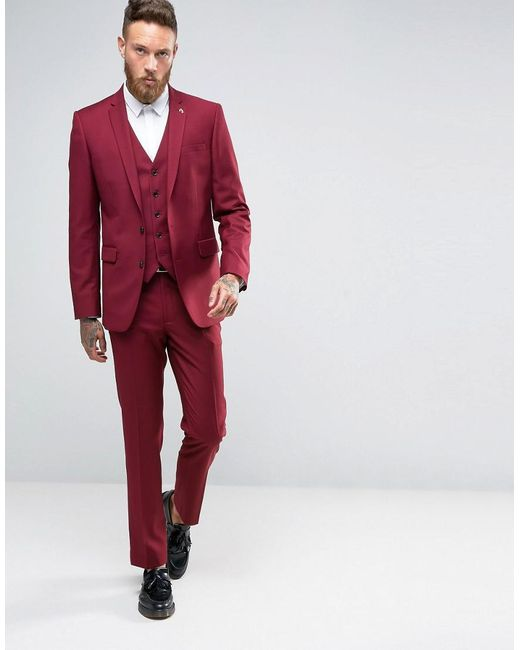 Farah Skinny Suit Jacket In Burgundy in Red for Men - Save 32% | Lyst
