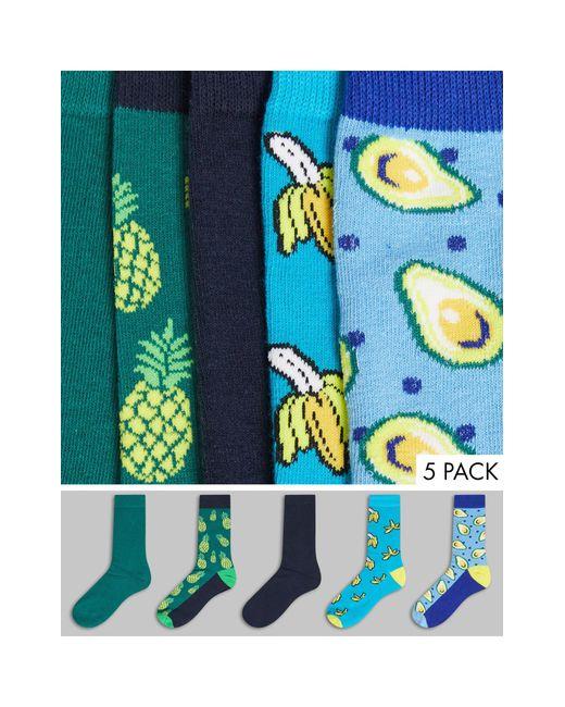 Набор Из 5 Пар Разноцветных Носков С Принтами Фруктов -многоцветный Jack & Jones для него, цвет: Blue