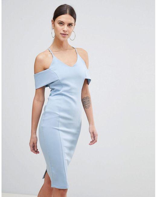 Vesper - Blue Strap Bardot Pencil Dress - Lyst