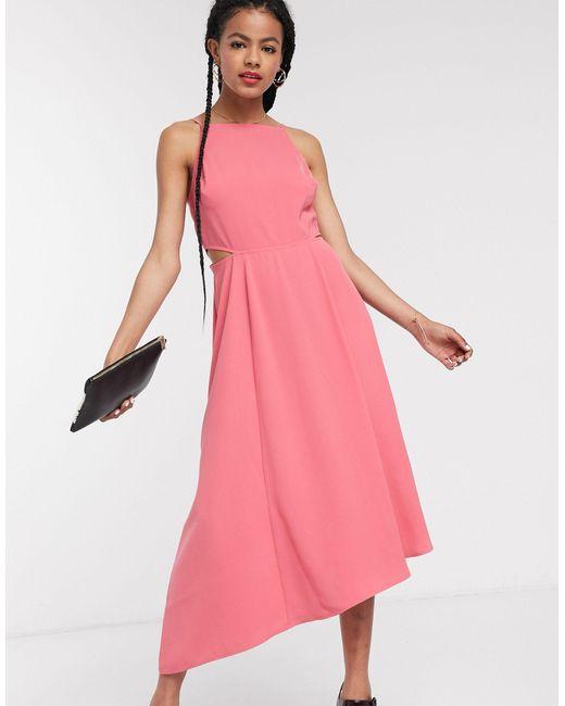 Розовое Платье Миди С Вырезами -розовый Warehouse, цвет: Pink