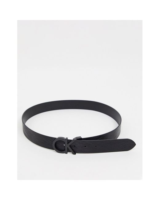 Cintura nera testurizzata da 35mm con fibbia di Calvin Klein in Black da Uomo