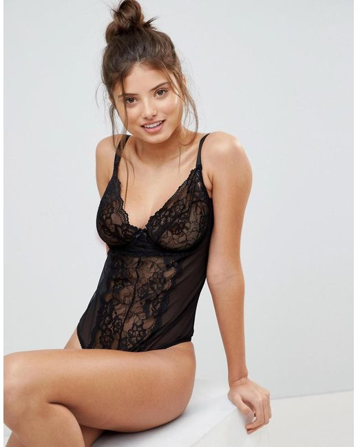 Ivory Rose Lingerie - Black Ivory Rose Underwired Lace Mesh Fuller Bust  Body - Lyst ... ac548e3a5