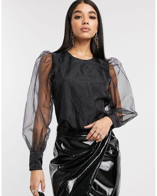 Черная Блузка Из Органзы С Длинными Рукавами -черный NA-KD, цвет: Black