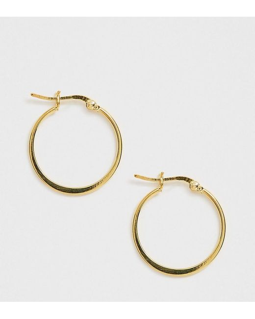 ASOS Metallic Sterling Silver With Gold Plate Hoop Earrings With Flat Edge
