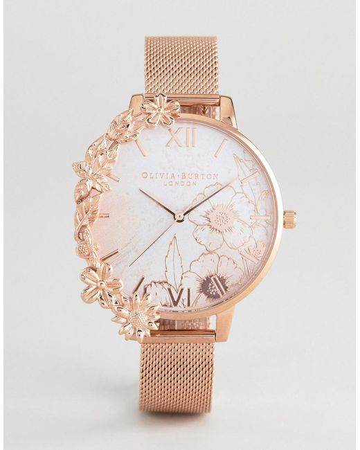 Olivia Burton - Metallic Ob16cb13 Case Cuff Mesh Watch In Rose Gold for Men - Lyst