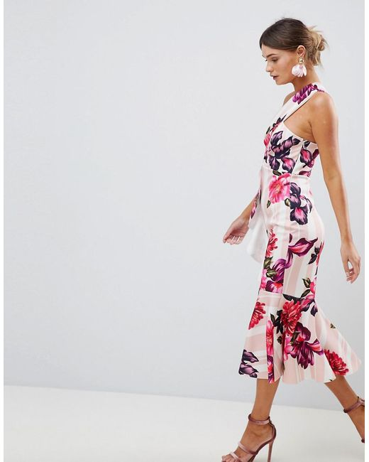 DESIGN one shoulder midi dress with floral and stripe print - Multi Asos frERYduwxU