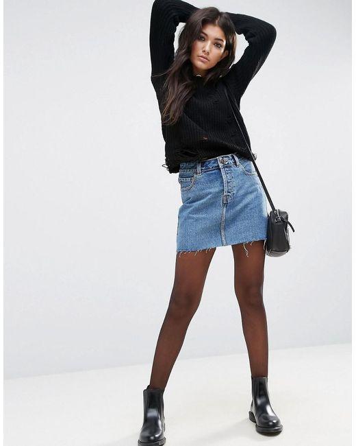 147dc6e7f8bed4 Mini-jupe taille basse en jean - Bleu délavé femme