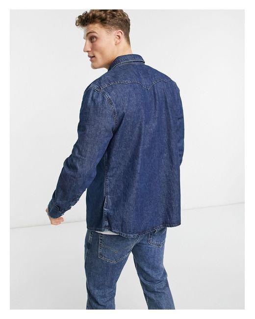 Темно-синяя Джинсовая Рубашка В Стиле Вестерн -темно-синий Wrangler для него, цвет: Blue