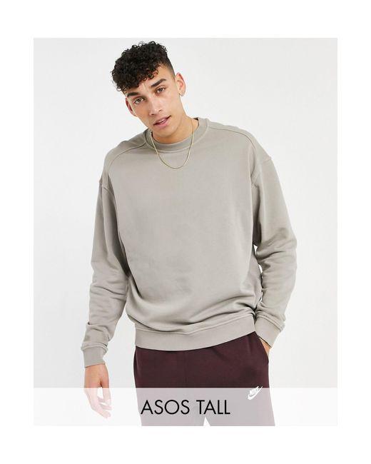 Бежевый Выбеленный Oversized-свитшот ASOS для него, цвет: Natural
