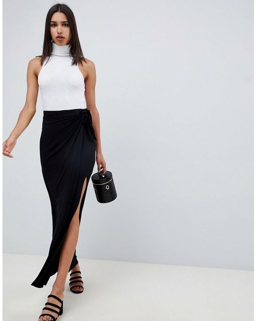 8ee7148c24 ASOS - Black Wrap Maxi Skirt With Tie Waist And Split - Lyst ...