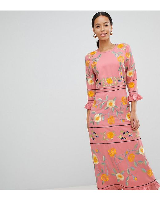 11441d4b110c5 ASOS - Pink Asos Design Tall Embroidered Midi Dress With Long Sleeves With  Frill Cuff ...