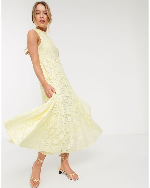 Желтое Кружевное Расклешенное Платье Макси Без Рукавов -желтый Warehouse, цвет: Yellow