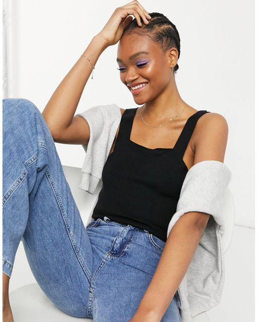 Y.A.S Black . Knitted Co-ord Crop Top