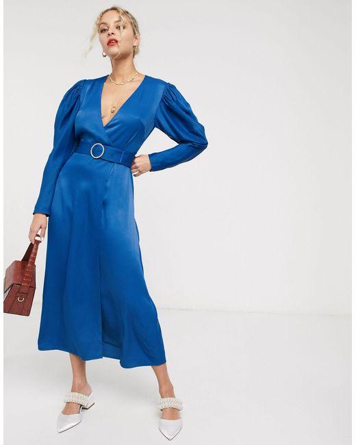 & Other Stories Vestido midi en azul intenso con manga abullonada y hebilla de mujer