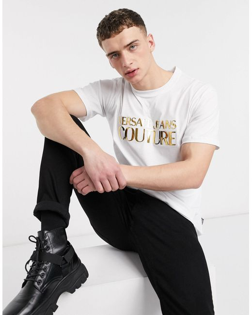 Белая Футболка С Золотистым Рельефным Логотипом -белый Versace Jeans для него, цвет: White