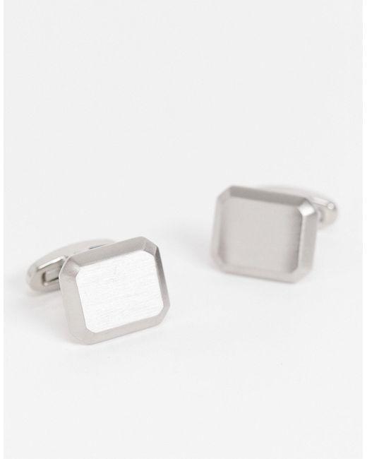 Запонки Из Нержавеющей Стали Матового Серебристого Цвета ASOS для него, цвет: Metallic