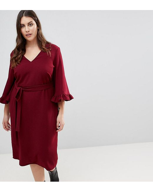 ASOS - Red Kimono Frill Sleeve Midi Dress - Lyst