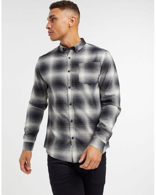 Серая Рубашка В Клетку С Эффектом Тени -серый River Island для него, цвет: Gray