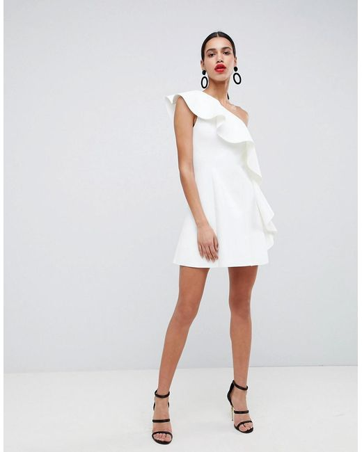 4ece4edd347 ASOS One Shoulder Ruffle A-line Mini Dress in White - Save 20% - Lyst