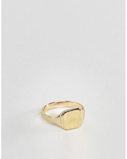 ASOS DESIGN - Metallic Gold Plated Pinky Ring for Men - Lyst