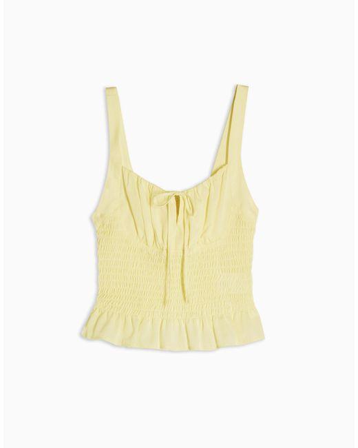 Желтая Майка На Бретельках Со Сборками И Завязками Спереди -желтый TOPSHOP, цвет: Yellow