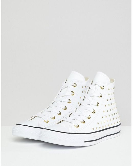 aa30f6cbda Women's Chuck Taylor All Star Leather Studded Hi Sneakers In White
