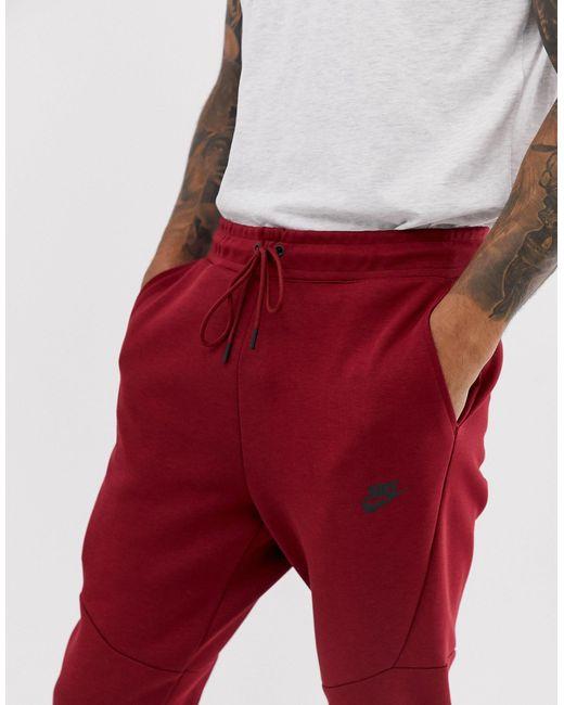 Бордовые Флисовые Джоггеры Tech-красный Nike для него, цвет: Red